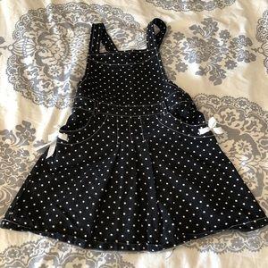 GEORGE 4T Girls Overall Dress Black/White Poka Dot
